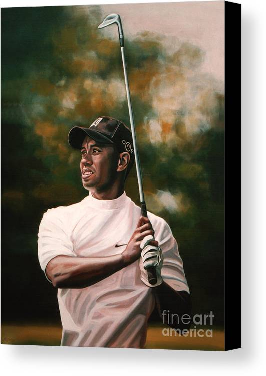 Tiger Woods Canvas Print featuring the painting Tiger Woods by Paul Meijering