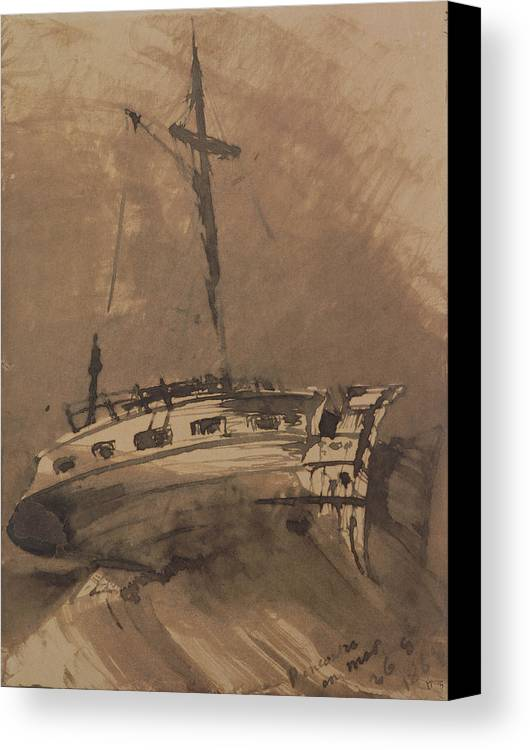 A Ship In Choppy Seas Canvas Print featuring the painting A Ship In Choppy Seas by Victor Hugo