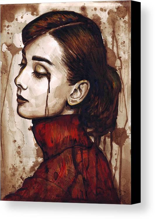 Audrey Hepburn Canvas Print featuring the painting Audrey Hepburn - Quiet Sadness by Olga Shvartsur