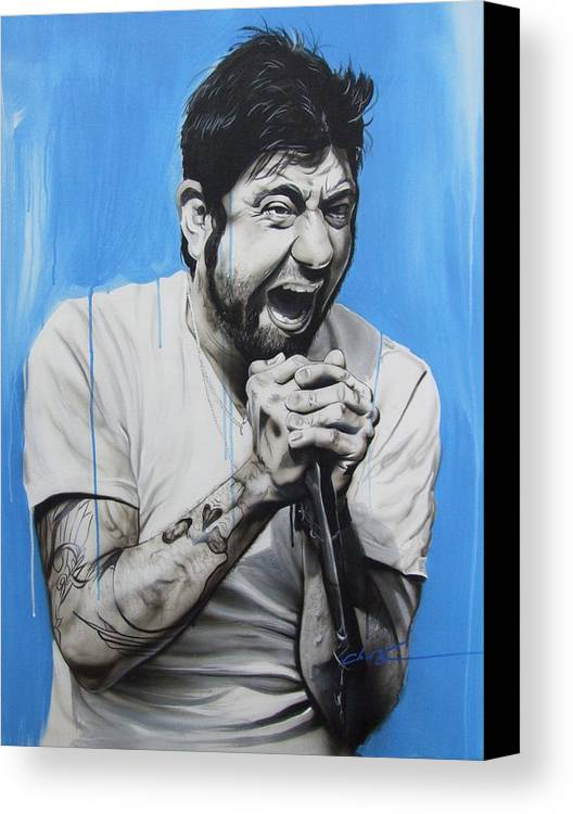 Deftones Canvas Print featuring the painting 'chino Moreno' by Christian Chapman Art