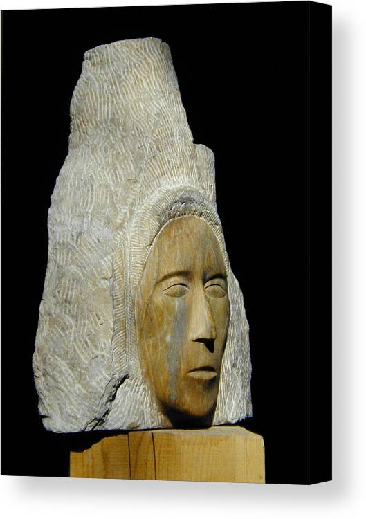 Sculpture Canvas Print featuring the sculpture Curandera by Manuel Abascal