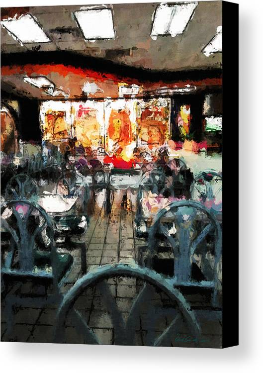 Restaurant Canvas Print featuring the painting Empty Restaurant by Robert Smith
