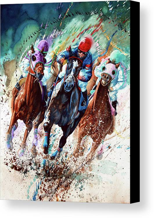 Sports Art Canvas Print featuring the painting For The Roses by Hanne Lore Koehler