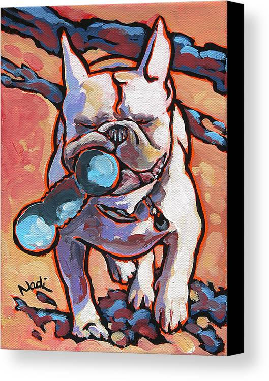 French Bulldog Canvas Print featuring the painting French Bulldog And Toy by Nadi Spencer