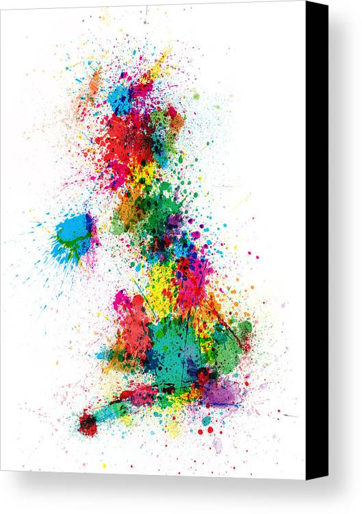United Kingdom Map Canvas Print featuring the digital art Great Britain Uk Map Paint Splashes by Michael Tompsett