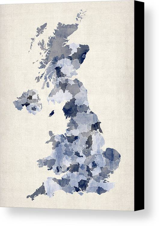 United Kingdom Map Canvas Print featuring the digital art Great Britain Uk Watercolor Map by Michael Tompsett