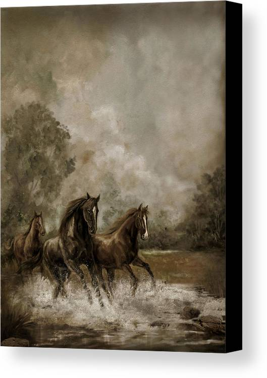 Horse Painting Equestrians Canvas Print featuring the painting Horse Painting Escaping The Storm by Regina Femrite