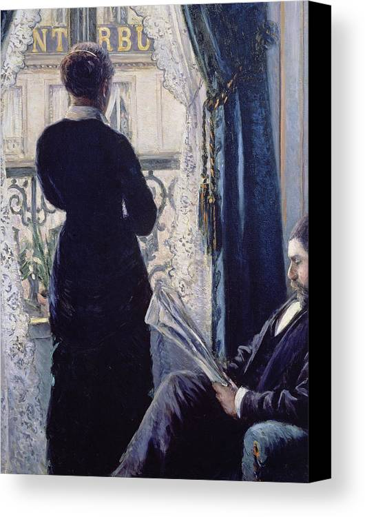 Female; Male; Seated; Reading; Newspaper; Lace Curtains; Parisian; Balcony; Staring; Domestic Scene; Daily Life; Bourgeoisie; Bourgeois; Boredom; Waiting; View Across A Balcony Canvas Print featuring the painting Interior Woman At The Window by Gustave Caillebotte