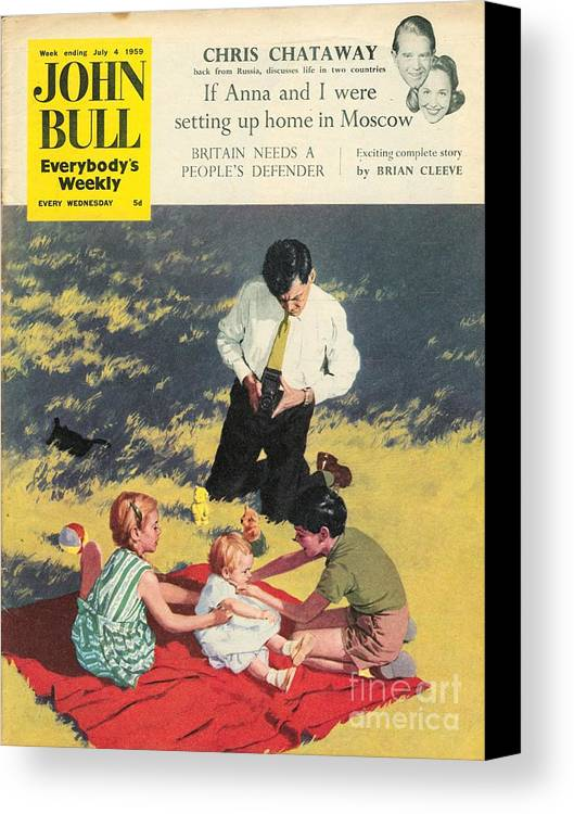 1950�s Canvas Print featuring the drawing John Bull 1950s Uk Babies Cameras by The Advertising Archives