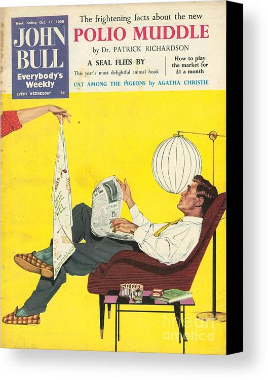 1950�s Canvas Print featuring the drawing John Bull 1950s Uk Dish Washing by The Advertising Archives