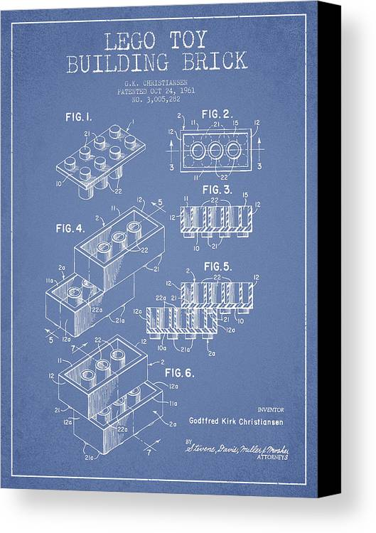 Lego Canvas Print featuring the drawing Lego Toy Building Brick Patent - Light Blue by Aged Pixel
