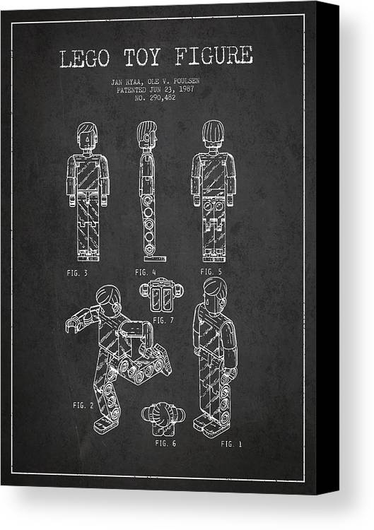 Lego Canvas Print featuring the drawing Lego Toy Figure Patent - Dark by Aged Pixel