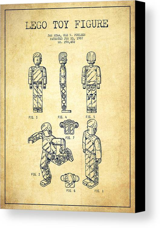 Lego Canvas Print featuring the drawing Lego Toy Figure Patent - Vintage by Aged Pixel