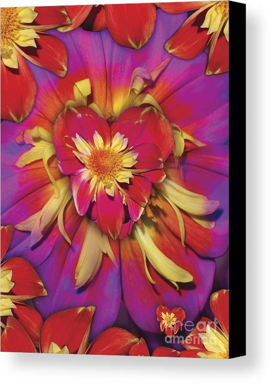 Abstract Canvas Print featuring the digital art Loveflower Orangered by Alixandra Mullins
