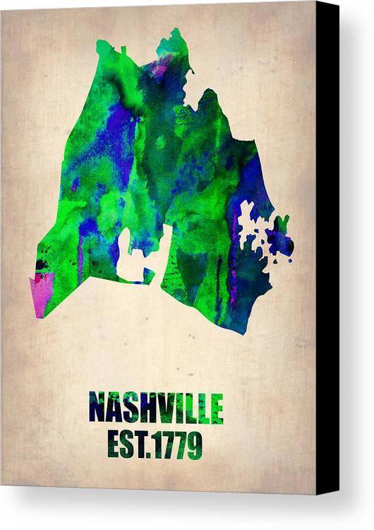 Nashville Canvas Print featuring the painting Nashville Watercolor Map by Naxart Studio