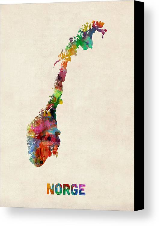 Urban Canvas Print featuring the digital art Norway Watercolor Map by Michael Tompsett