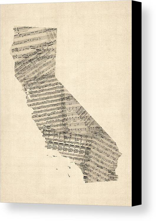 California Map Canvas Print featuring the digital art Old Sheet Music Map Of California by Michael Tompsett