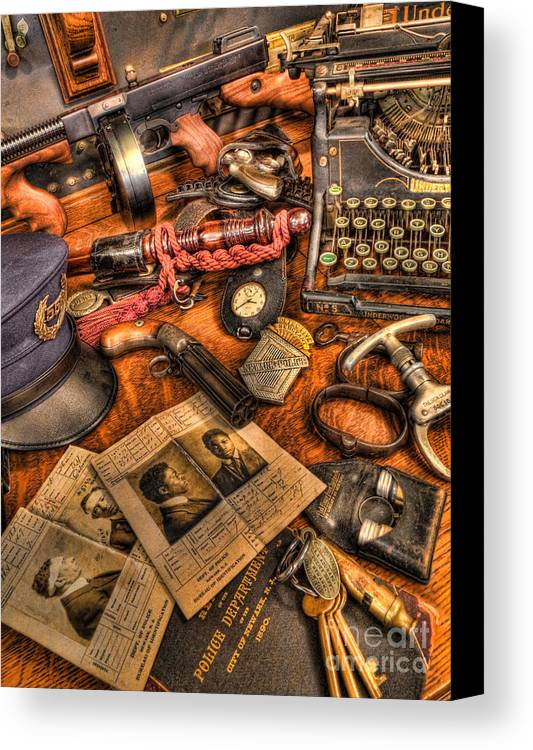 Police Canvas Print featuring the photograph Police Officer - The Detective's Desk by Lee Dos Santos