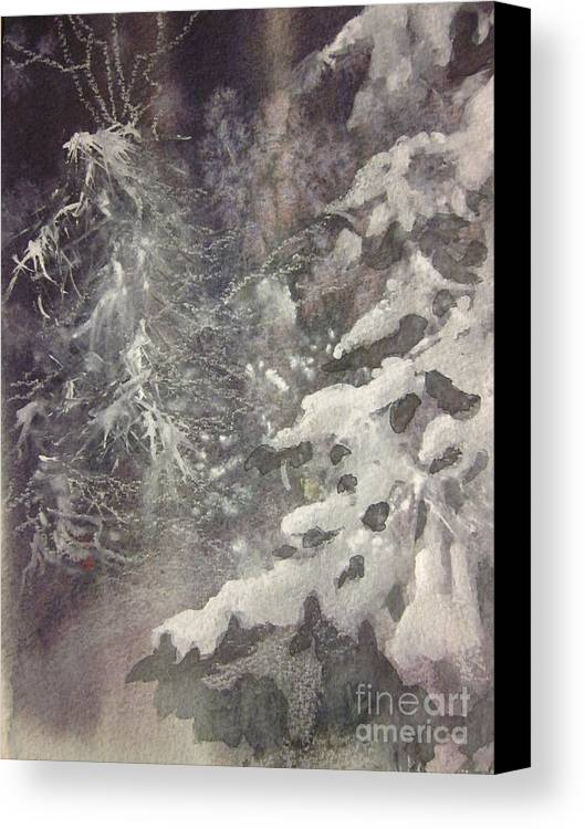 Snow Canvas Print featuring the painting Silent Night by Elizabeth Carr