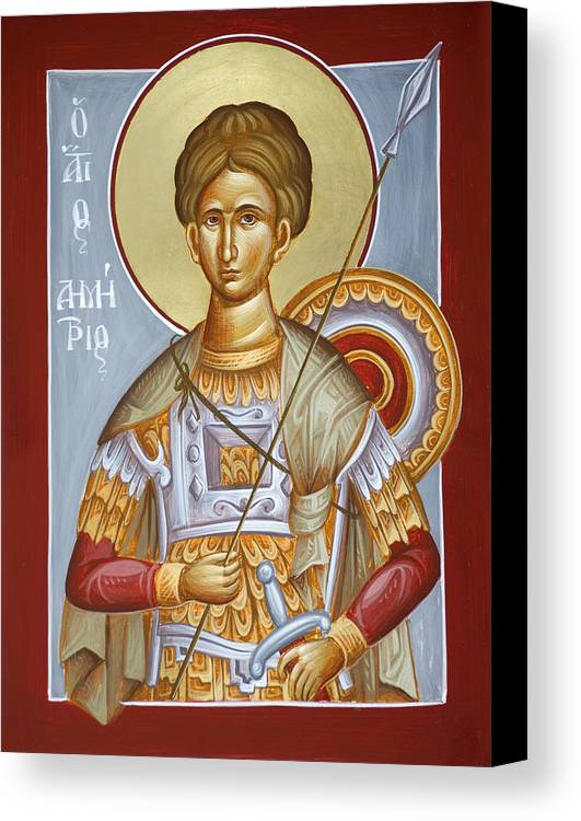 St Dimitrios Canvas Print featuring the painting St Dimitrios The Myrrhstreamer by Julia Bridget Hayes
