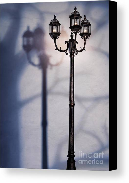 Night Canvas Print featuring the photograph Street Lamp At Night by Oleksiy Maksymenko