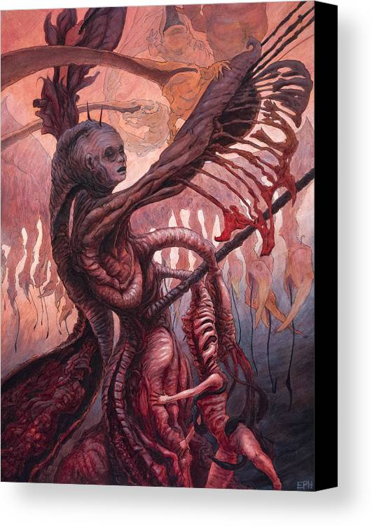 Beast Canvas Print featuring the painting The Ropes And Rabbles Of The Depths by Ethan Harris