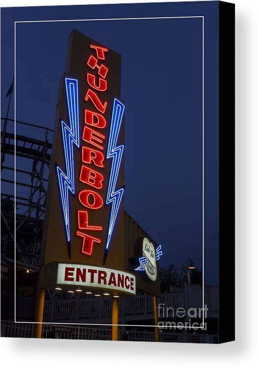 Amusement Canvas Print featuring the photograph Thunderbolt Rollercoaster Neon Sign by Edward Fielding