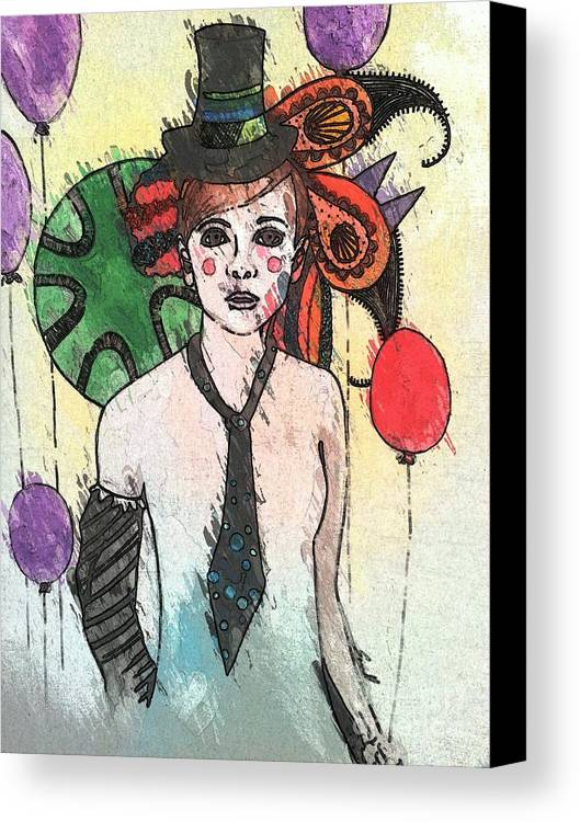 Clown Canvas Print featuring the painting Water Clown by Amy Sorrell