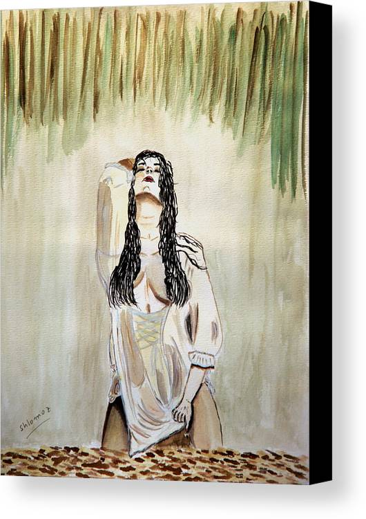 Nude Framed Prints Canvas Print featuring the painting White Passion by Shlomo Zangilevitch