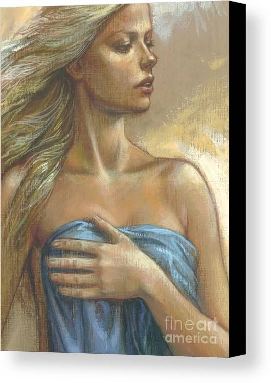 Blonde Canvas Print featuring the digital art Young Woman With Blue Drape Crop by Zorina Baldescu