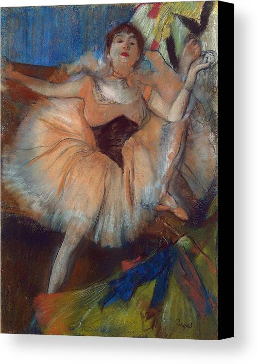 Seated Dancer Canvas Print featuring the pastel Seated Dancer by Edgar Degas