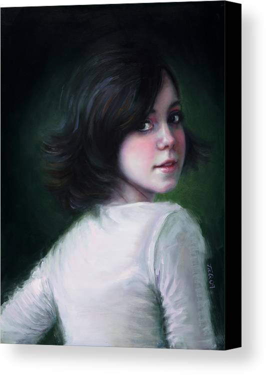 Girl Canvas Print featuring the painting Almost Ready by Talya Johnson