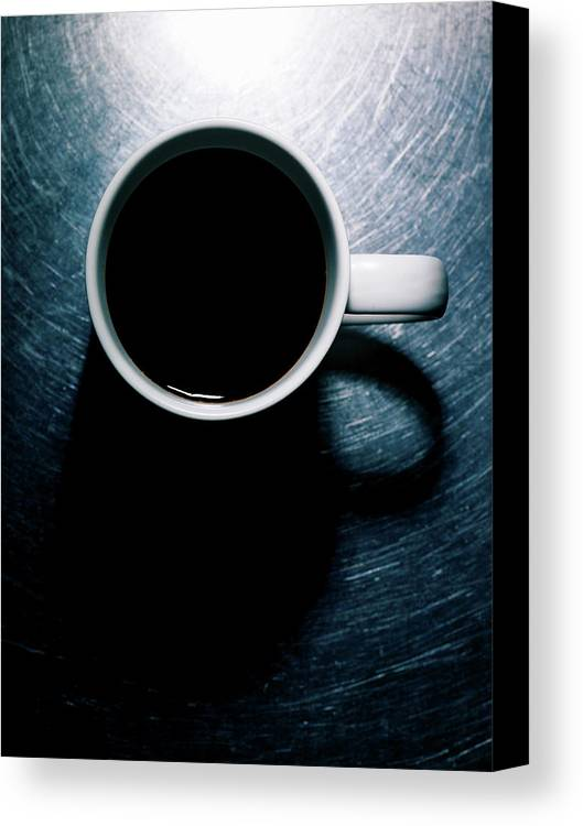 Vertical Canvas Print featuring the photograph Coffee Cup On Stainless Steel. by Ballyscanlon