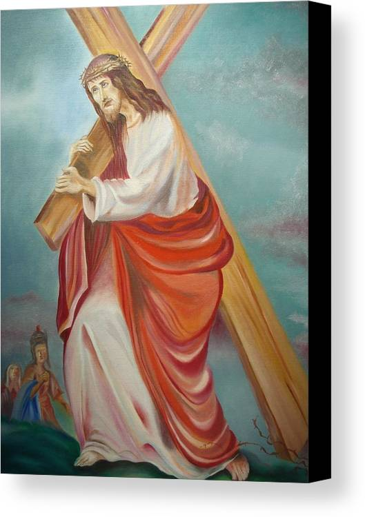 Jesus Canvas Print featuring the painting Jesus by Prasenjit Dhar