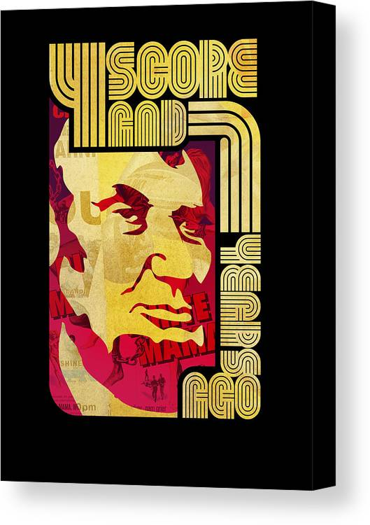 Typography Canvas Print featuring the digital art Lincoln 4 Score On Black by Jeff Steed
