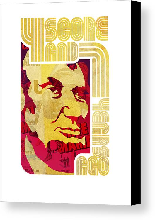 Typography Canvas Print featuring the drawing Lincoln 4 Score On White by Jeff Steed