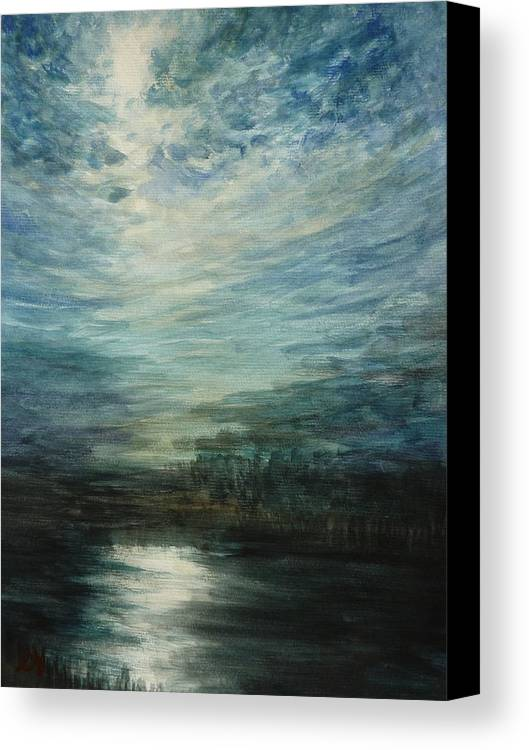 Moon Canvas Print featuring the painting Moon Shimmer by Estephy Sabin Figueroa