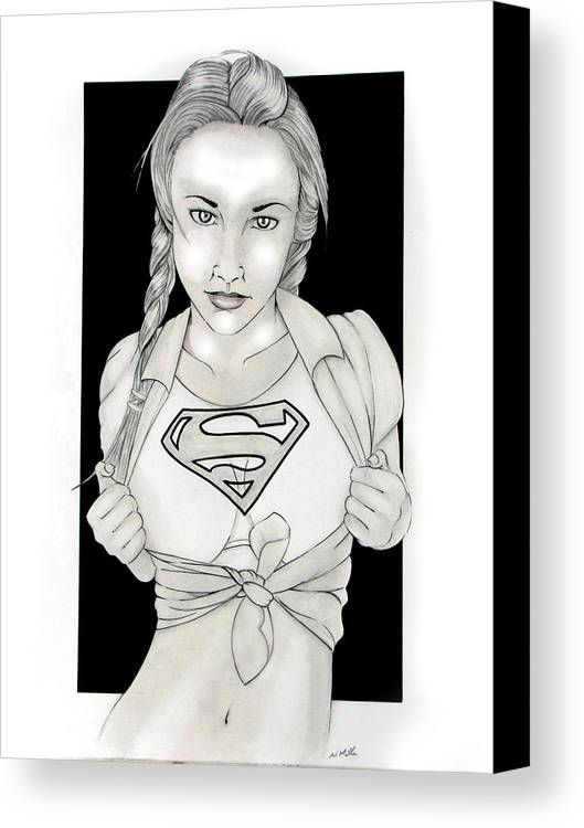 Dc Comics Canvas Print featuring the drawing Supergirl by Nathan Miller