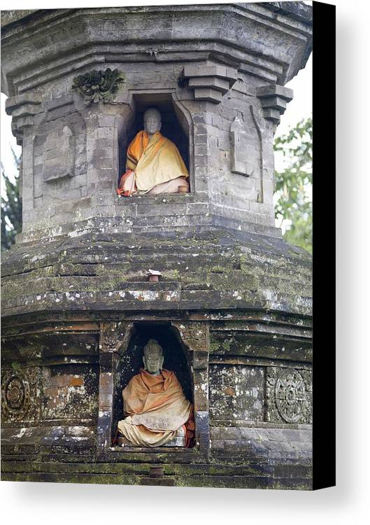 Vertical Canvas Print featuring the photograph Ulun Danu Temple Statues by Design Pics
