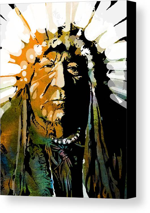 Native American Canvas Print featuring the painting Sitting Bear by Paul Sachtleben