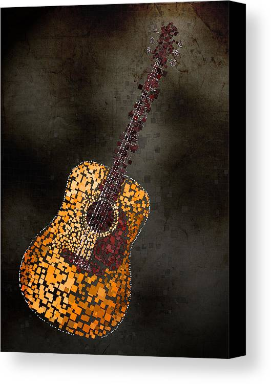 Guitar Canvas Print featuring the mixed media Abstract Guitar by Michael Tompsett
