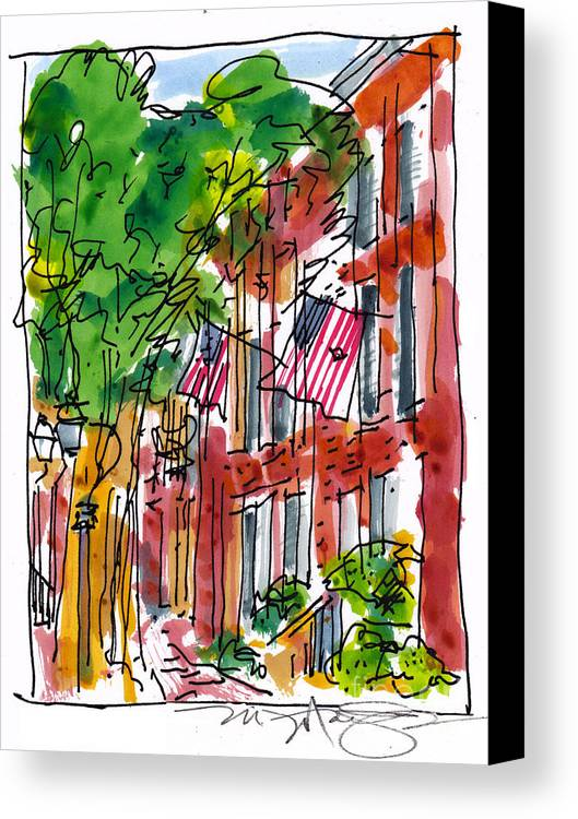 Landscape Canvas Print featuring the painting American Street Philadelphia by Marilyn MacGregor