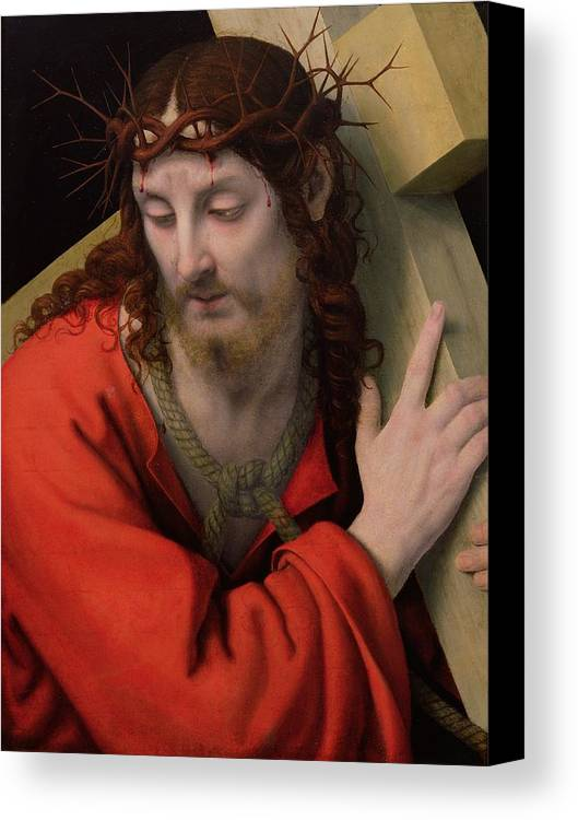 Christ Carrying The Cross Canvas Print featuring the painting Christ Carrying The Cross by Andrea Solario