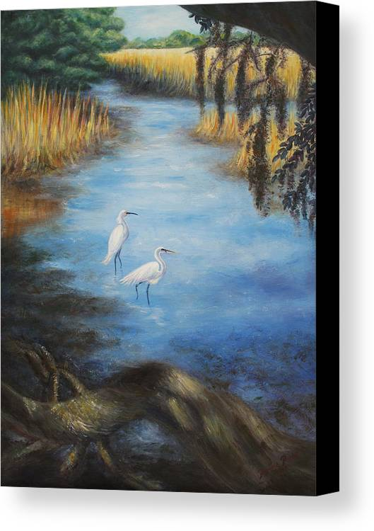 Landscape Canvas Print featuring the painting Egrets On The Ashley At Charles Towne Landing by Pamela Poole