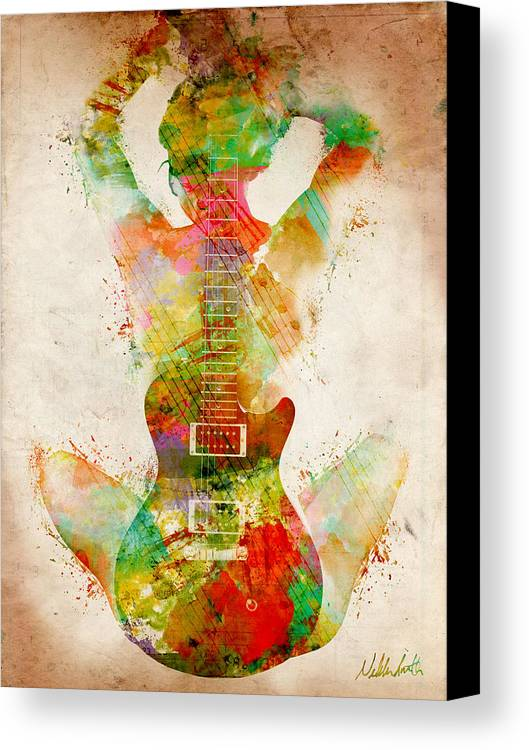 Guitar Canvas Print featuring the digital art Guitar Siren by Nikki Smith