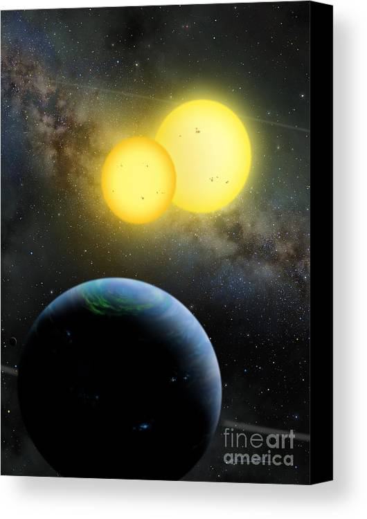 Lynette Cook Canvas Print featuring the painting Kepler-35 by Lynette Cook