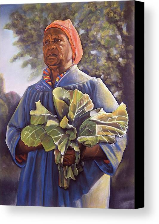 Women Canvas Print featuring the pastel Miss Emma's Collard Greens by Curtis James