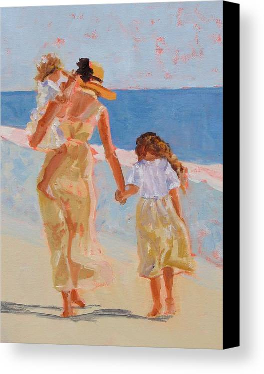Woman Canvas Print featuring the painting Mother And Two Daughters by Molly Wright