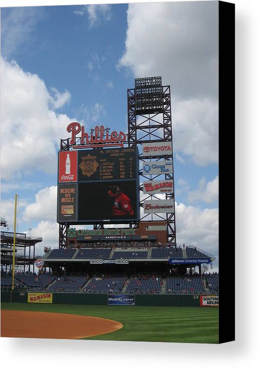 Citizens Bank Park Canvas Print featuring the photograph Phillies by Jennifer Sweet
