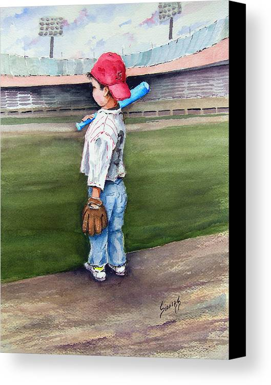 Baseball Canvas Print featuring the painting Put Me In Coach by Sam Sidders